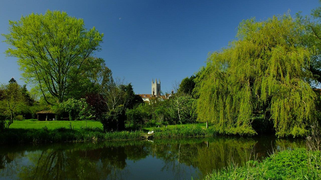 river, willows and bungay church