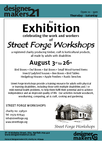 Invitation to an exhibition at Designer Makers showing crafted wood work from Street Forge, Thornham
