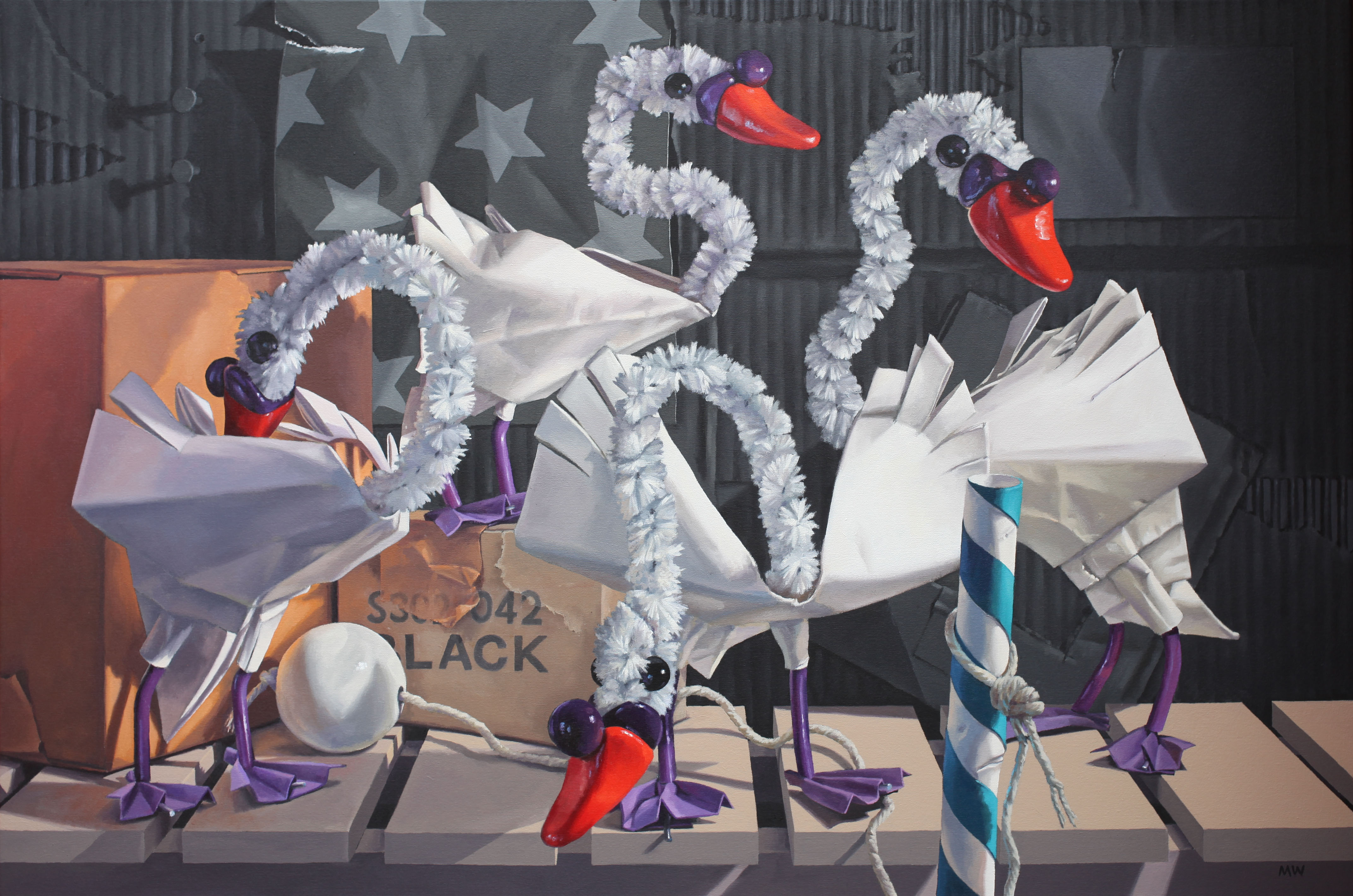 Swansemble acrylic on canvas 80cmx120cm Mark Ward