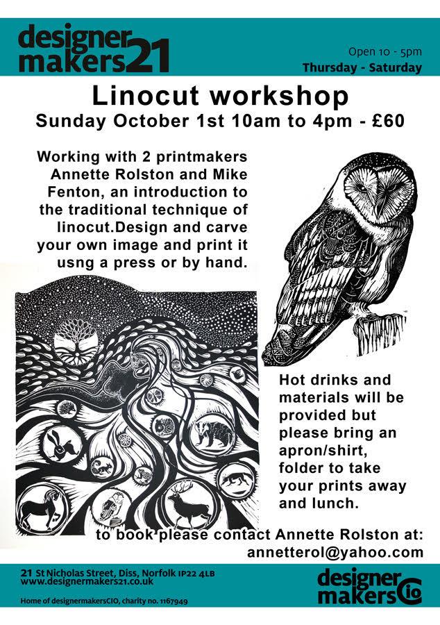 Linocut workshop Annette Rolston