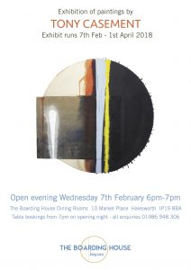 Tony Casement Exhibition at The Boarding House Halesworth