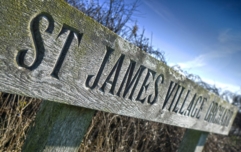 St James Village Orchard sign