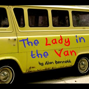 Yellow Van written with Lady in a van