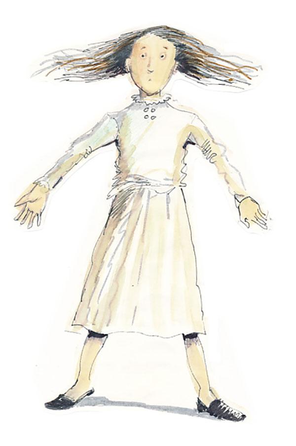 illustration of girl in white dress