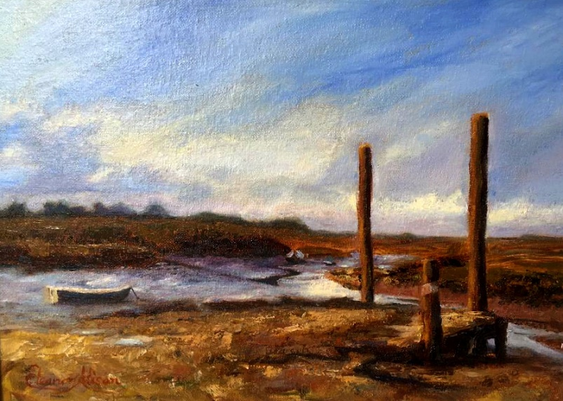 Painting of boat on water by Elenor Alison