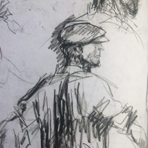 Image courtesy of Alan Marshall, writer and publisher of 'Harry Becker's Suffolk',. Becker original graphite drawing.